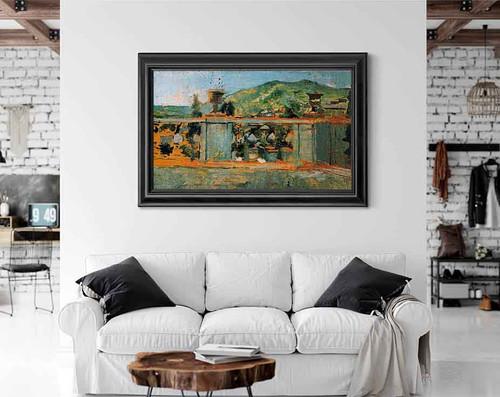 Balustrade And Landscape By Ignacio Pinazo Camarlench By Ignacio Pinazo Camarlench