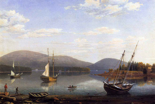 Bar Island And Mt. Desert Mountains From Sommes Settlement By Fitz Henry Lane