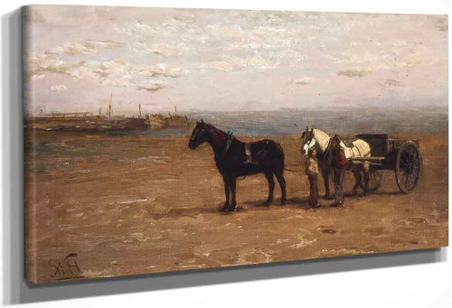 Beach Scene With Horses By William Morris Hunt