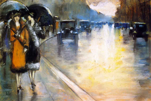 Berlin Street With Cabs In The Rain By Lesser Ury