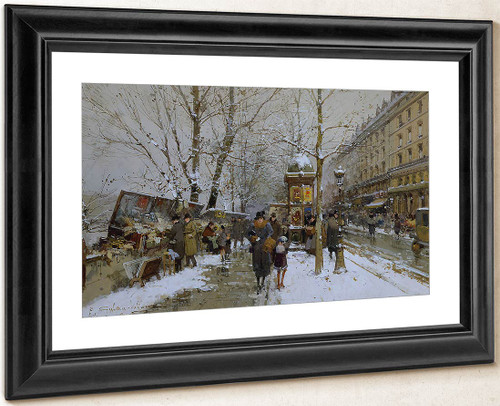 Bookstalls In Winter By Eugene Galien Laloue