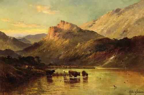 Cattle Watering In A Mountainous Landscape By Alfred De Breanski, Sr.
