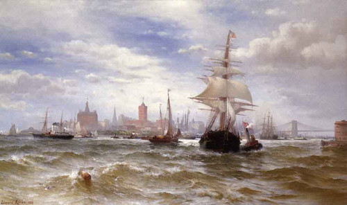 City And Harbor Of New York By Edward Moran