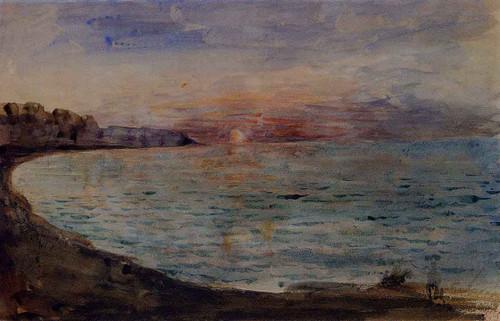 Cliffs Near Dieppe By Eugene Delacroix By Eugene Delacroix