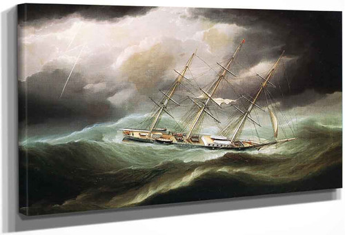 Clipper Ship In Heavy Seas By James E. Buttersworth