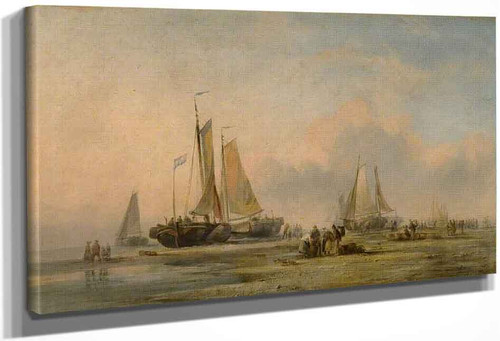 Coast Scene With Fishing Boats By Edward William Cooke, R.A.