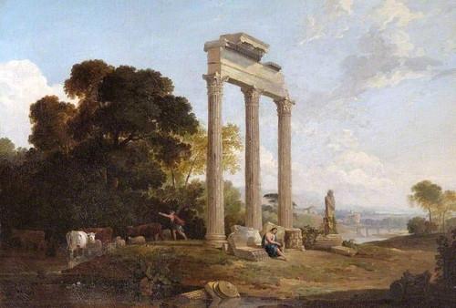 Columns In An Italianate Landscape By Claude Lorrain By Claude Lorrain