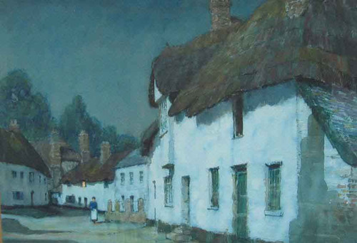 Cottages In The Moonlight By Albert Moulton Foweraker