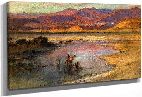 Crossing An Oasis, With The Atlas Mountains In The Distance, Morocco By Frederick Arthur Bridgman