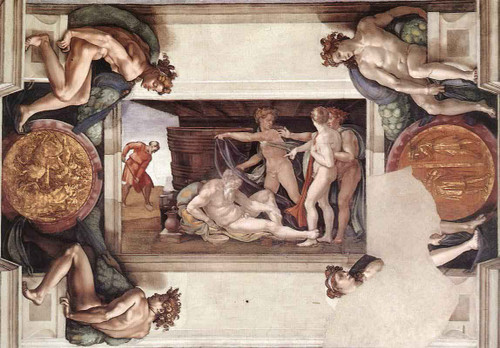 Drunkenness Of Noah By Michelangelo Buonarroti By Michelangelo Buonarroti