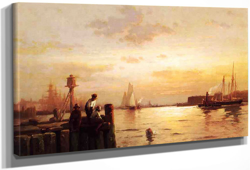 Early Dawn, New York Harbor By Edward Moran