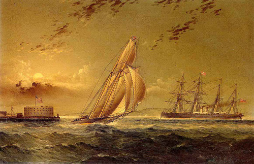 English Steamer Off Staten Island By James E. Buttersworth