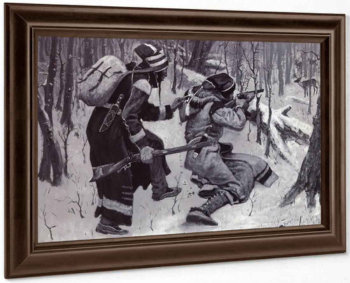 Hunting The Caribou 'Shoot! Shoot!' By Frederic Remington