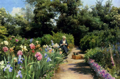 Knitting In The Garden By Peder Mork Monsted