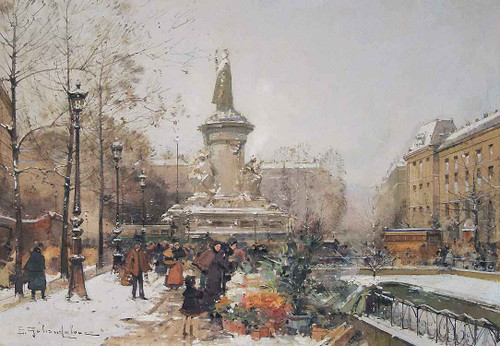 La Place De La Republique, Sous La Neige By Eugene Galien Laloue