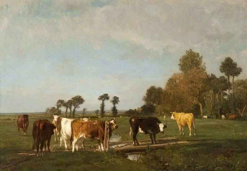 Landscape And Cattle By Constant Troyon