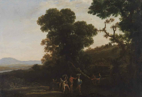 Landscape With Figures Wading Through A Stream By Claude Lorrain By Claude Lorrain