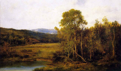 Landscape With Pond And Cabin By Alexander Helwig Wyant