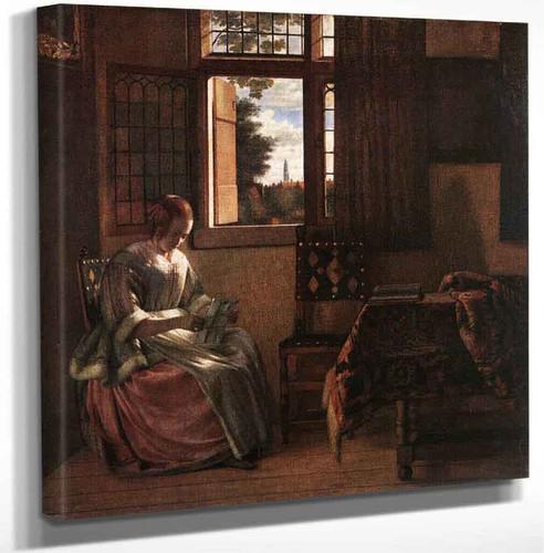 Woman Reading A Letter By Pieter De Hooch Art Reproduction