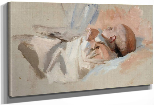 Laying Child By Albert Edelfelt