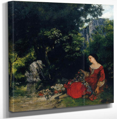 Woman With Garland By Gustave Courbet Art Reproduction