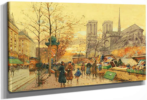 Les Bouquinistes Sur Les Quais A Notre Dame By Eugene Galien Laloue