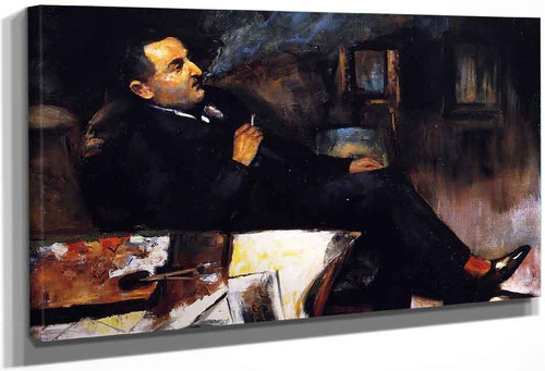 Lesser Ury Smoking In His Studio By Lesser Ury