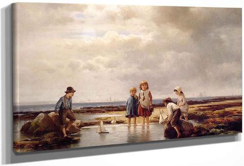 Little Sailors, Rockaway Beach By Edward Moran