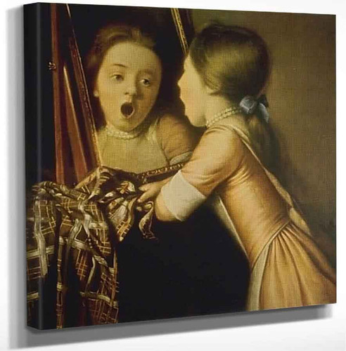Young Girl Singing Into A Mirror By Jean Etienne Liotard Art Reproduction