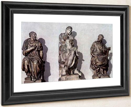 Medici Madonna, Between Sts Cosmas And Damian By Michelangelo Buonarroti By Michelangelo Buonarroti