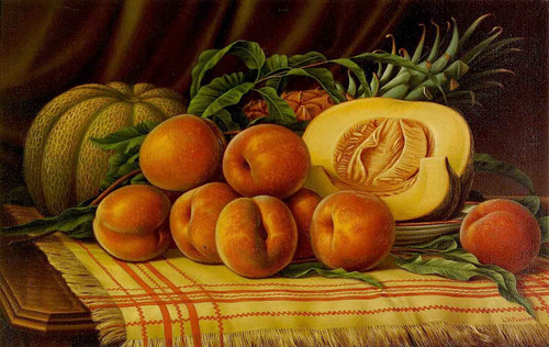 Melons, Peaches And Pineapple By Levi Wells Prentice By Levi Wells Prentice