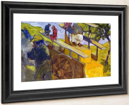 Monkeys On A Cart By Franz Marc By Franz Marc