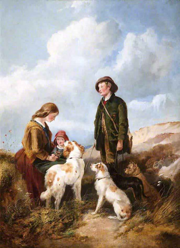 A Boy And A Girl With Hounds By Richard Ansdell