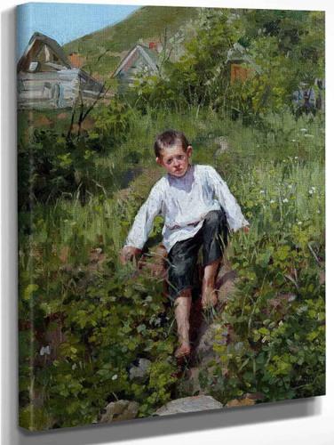 A Boy Climbing Down A Bank By Sergei Arsenevich Vinogradov Russian 1869 1938
