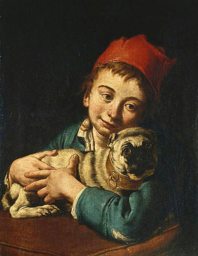 A Boy In A Blue Jacket And A Red Hat, Holding A Pug On A Cushion By Giacomo Ceruti