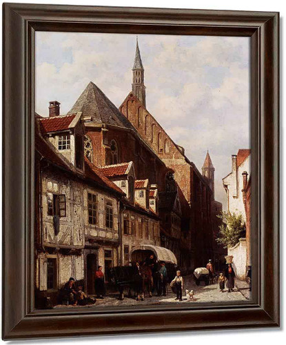 A Busy Street In Bremen With The Saint Johann Church In The Background By Cornelius Springer Oil on Canvas Reproduction