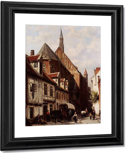 A Busy Street In Bremen With The Saint Johann Church In The Background By Cornelius Springer