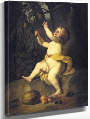 A Child Picking Fruit By Gerard Van Honthorst By Gerard Van Honthorst