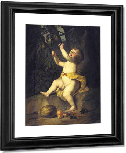 A Child Picking Fruit By Gerard Van Honthorst By Gerard Van Honthorst