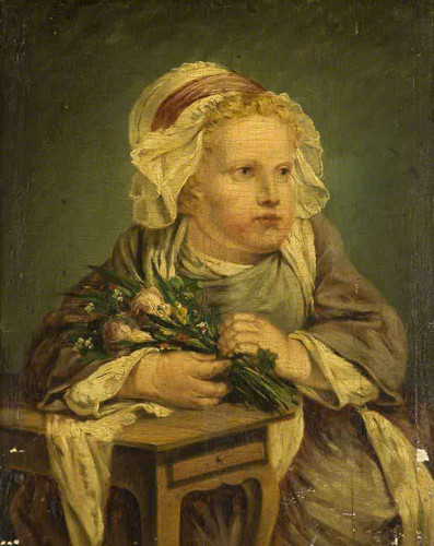 A Child With A Bunch Of Flowers By Jean Baptiste Greuze