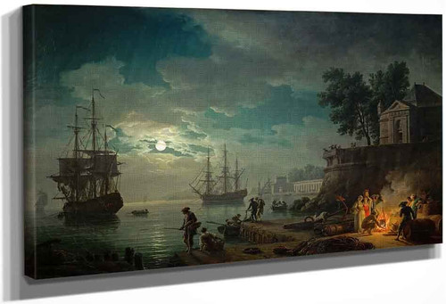 Night, A Port In Moonlight By Claude Joseph Vernet
