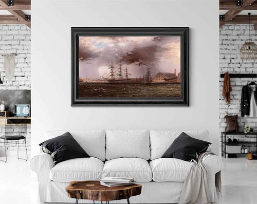 Old Brooklyn Navy Yard, East River, New York By James E. Buttersworth