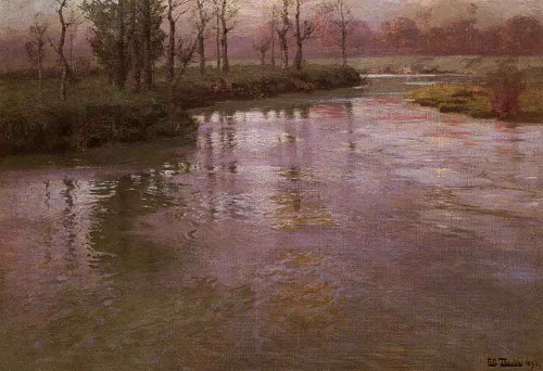 On A French River By Fritz Thaulow