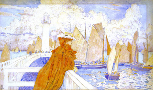 On The Jetty By Theo Van Rysselberghe
