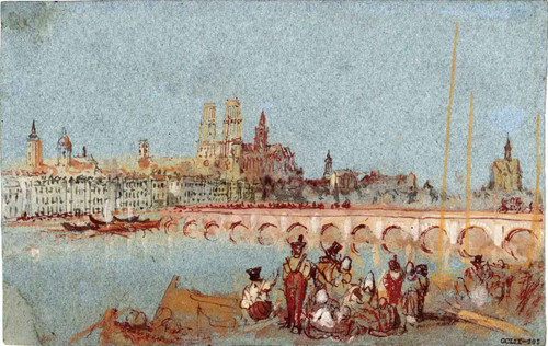 Orleans, The Bridge With The Cathedral By Joseph Mallord William Turner