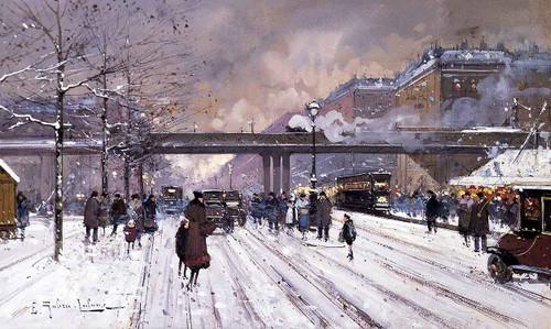Paris, Sous La Neige By Eugene Galien Laloue