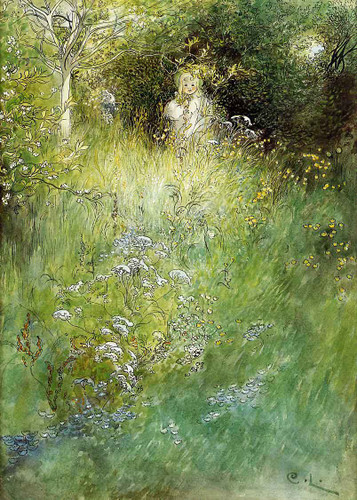 A Fairy, Kersti And A View Of A Meadow By Carl Larsson