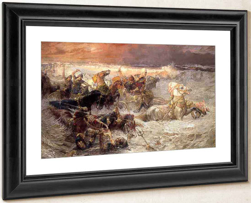 Pharoah And His Army Engulfed By The Red Sea By Frederick Arthur Bridgman