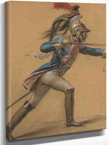 A French Dragoon, Study For ''The Revolt Of Cairo'' By Anne Louis Girodet De Roussy Trioson Art Reproduction