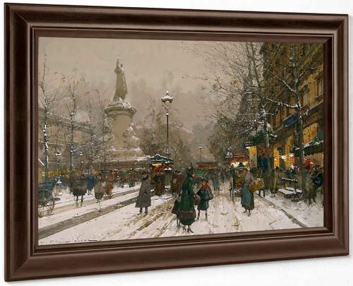 Place De La Republique In Winter By Eugene Galien Laloue